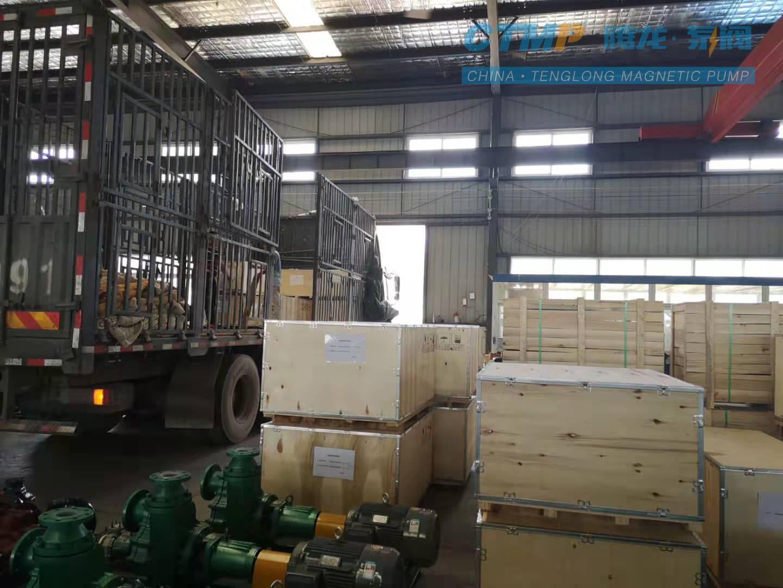 一批衬氟泵发往内蒙古永和氟化工有限公司